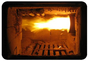 Pellet burner in bread oven